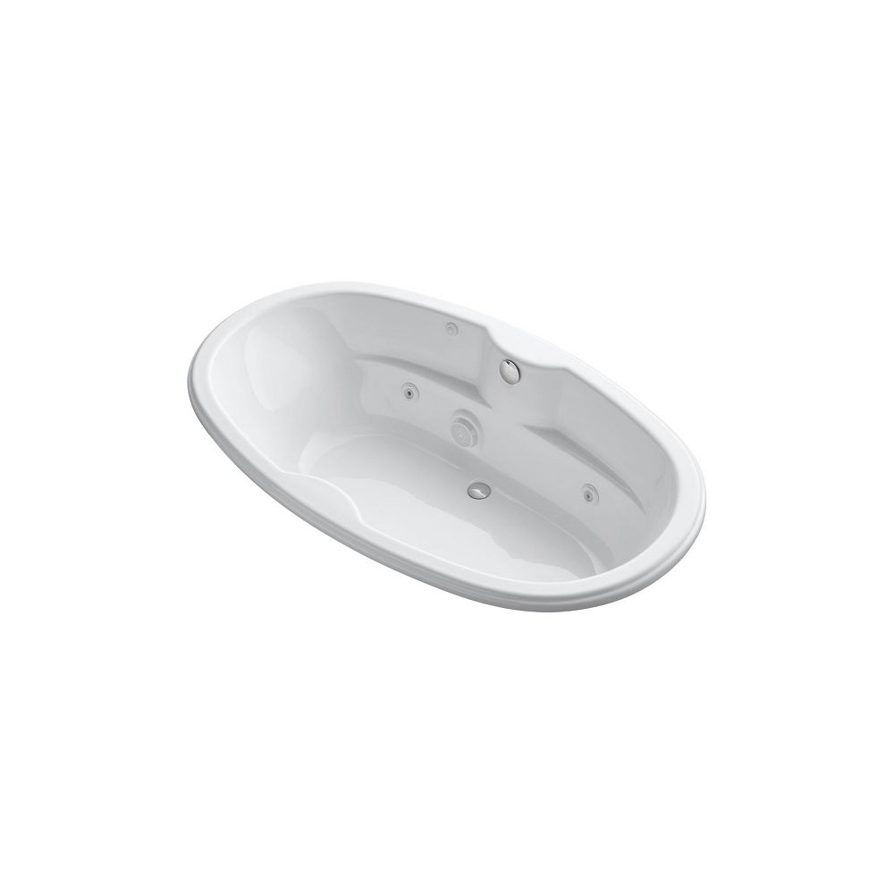 KOHLER 72 inch x 42 inch oval drop-in whirlpool with heater in White