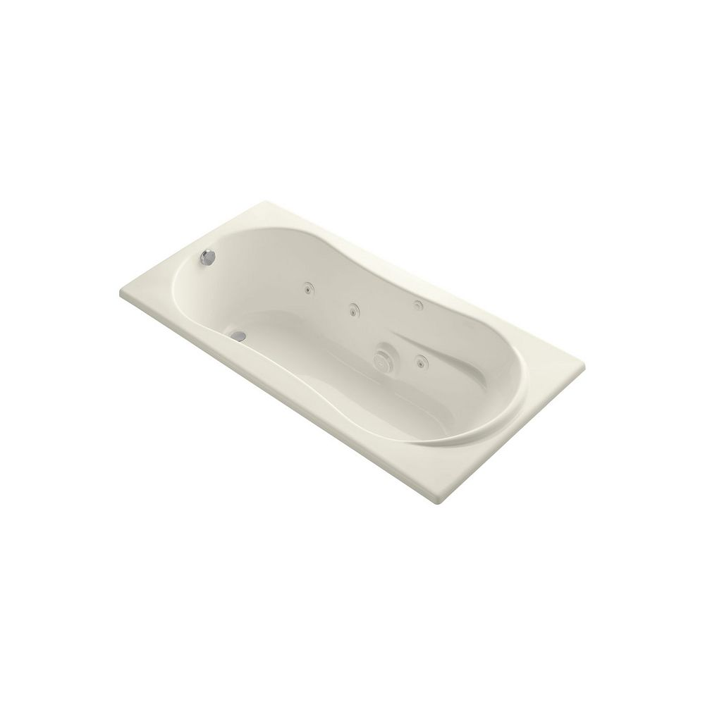 KOHLER 72 inch x 36 inch drop-in whirlpool with heater in Biscuit
