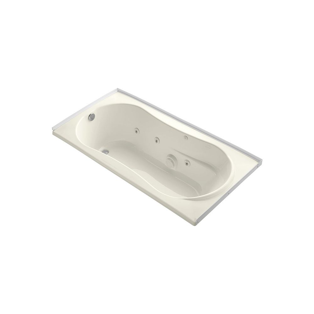 KOHLER 72 inch x 36 inch alcove whirlpool with integral flange, left-hand drain and heater in Biscuit