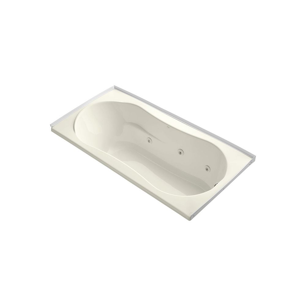 KOHLER 72 inch x 36 inch alcove whirlpool with integral flange and right-hand drain in Biscuit