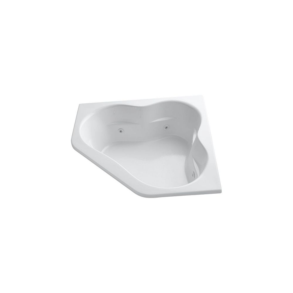 KOHLER 60 inch x 60 inch drop-in whirlpool with integral flange and center drain in White