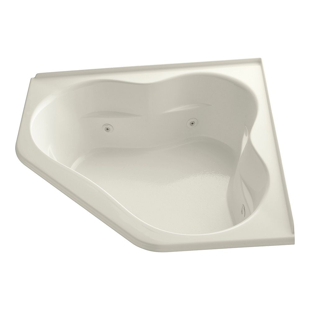 KOHLER 60 inch x 60 inch whirlpool with integral flange and center drain in Biscuit