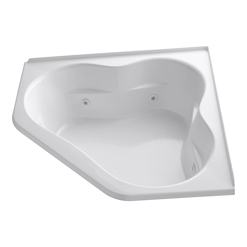 KOHLER 60 inch x 60 inch whirlpool with integral flange, center drain and heater in White