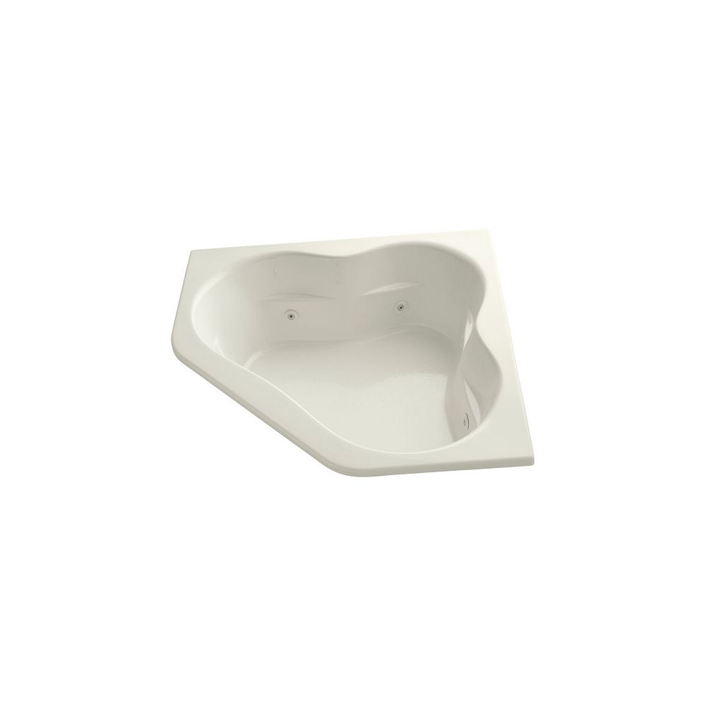KOHLER 60 inch x 60 inch drop-in whirlpool with center drain and heater in Biscuit