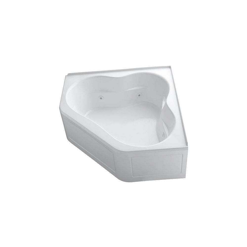 KOHLER 60 inch x 60 inch whirlpool with integral flange, heater and center drain in White