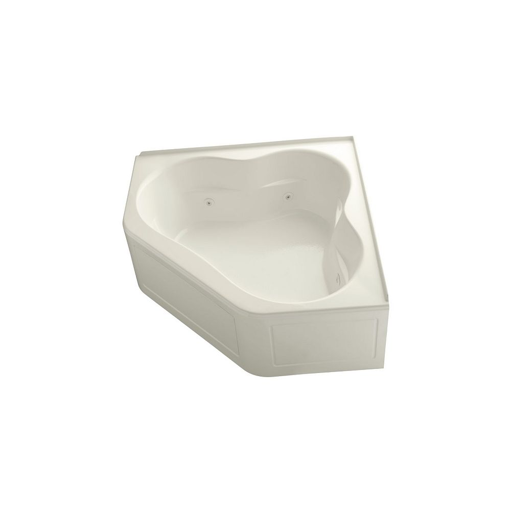 KOHLER 60 inch x 60 inch whirlpool with integral flange, heater and center drain in Biscuit