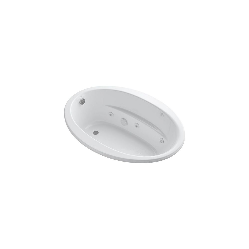 KOHLER 60 inch x 42 inch drop-in whirlpool with reversible drain and heater in White