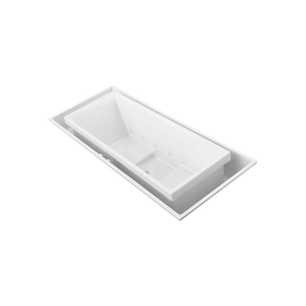 KOHLER 104 inch x 41 inch drop-in Effervescence bath with center drain in White