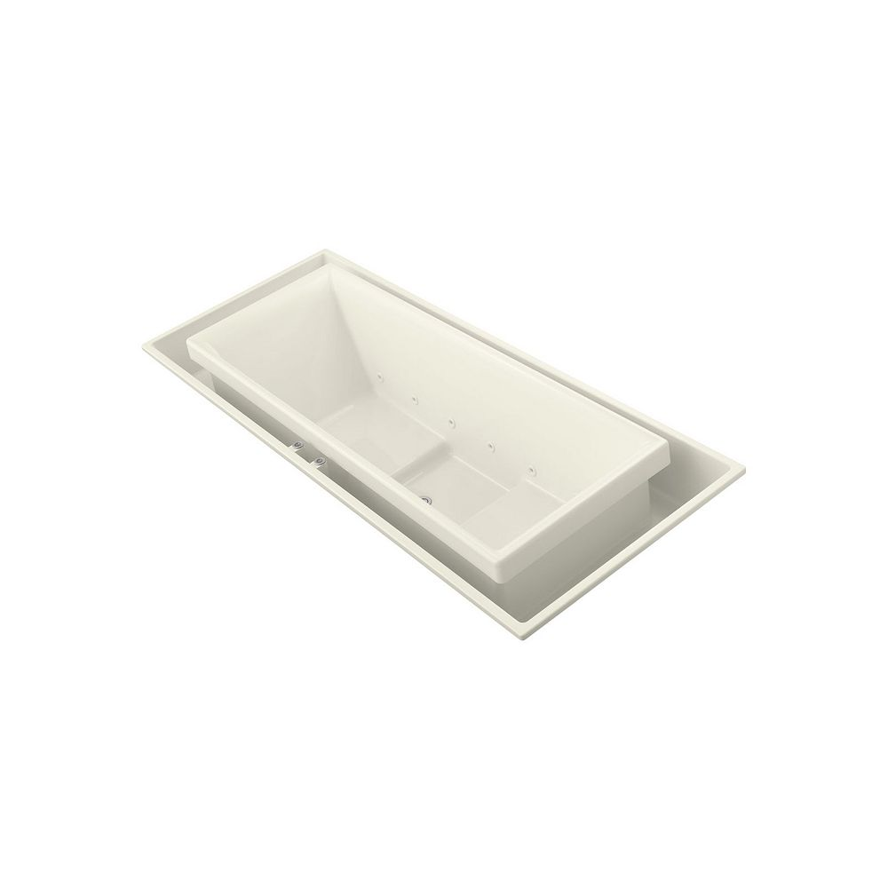 KOHLER 104 inch x 41 inch drop-in Effervescence bath with center drain in Biscuit
