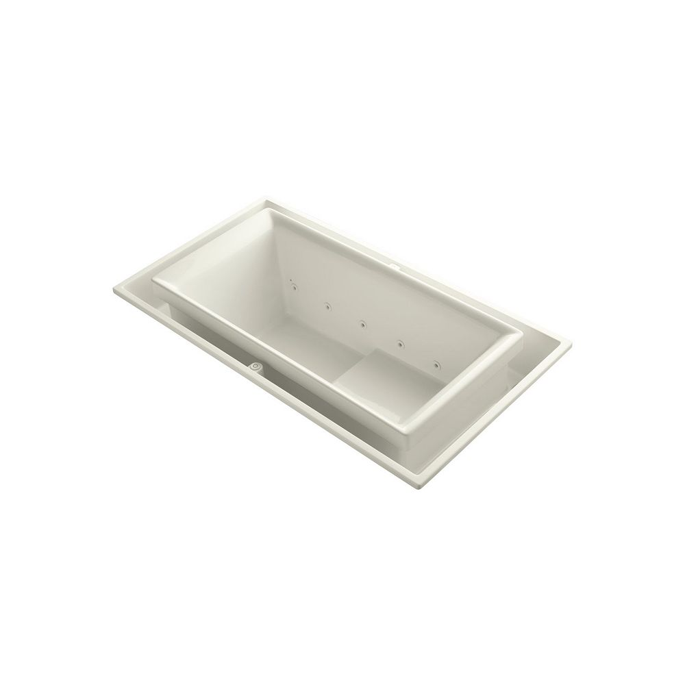 KOHLER 75 inch x 41 inch drop-in Effervescence bath with right-hand drain in Biscuit