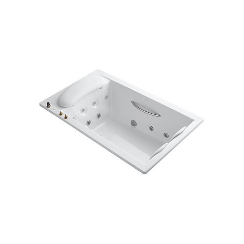 Riverbath 75 inch x 45 inch drop-in whirlpool with integral fill and heater without jet trim in White