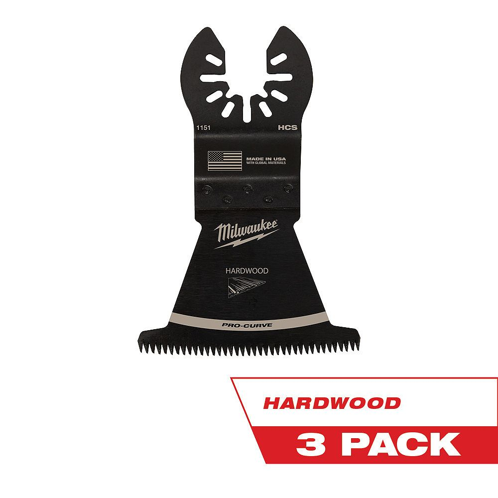 Milwaukee Tool 2-1/2-inch Japanese Tooth Hardwood Cutting High Carbon Steel Oscillating Multi Tool Blade (3 Pack)