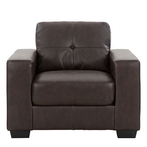 Tufted Seat and Backrest Chocolate Brown Bonded Leather Chair