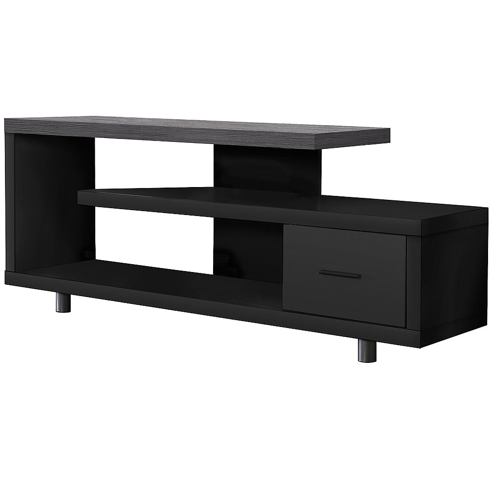 Monarch Specialties Tv Stand - 60 Inch L / Black / Grey Top With 1 Drawer