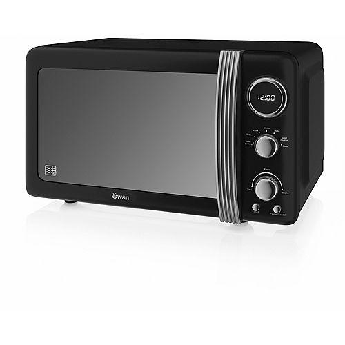 Four à micro-ondes rétro, 700 W, noir