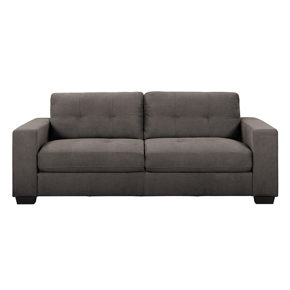 Corliving Tufted Seat and Backrest Grey Chenille Fabric Sofa