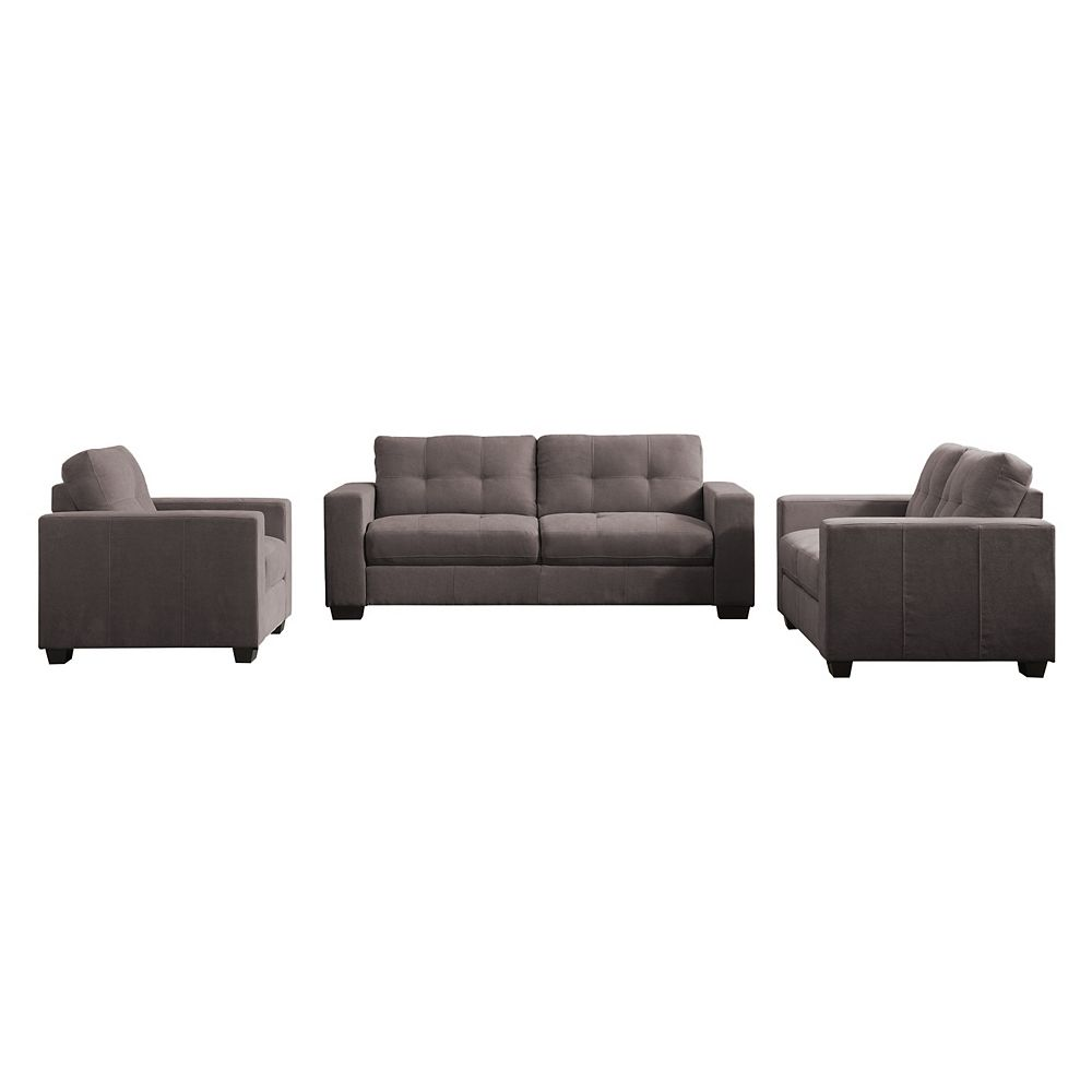 Corliving 3-Piece Tufted Seat and Backrest Grey Chenille Fabric Sofa Set
