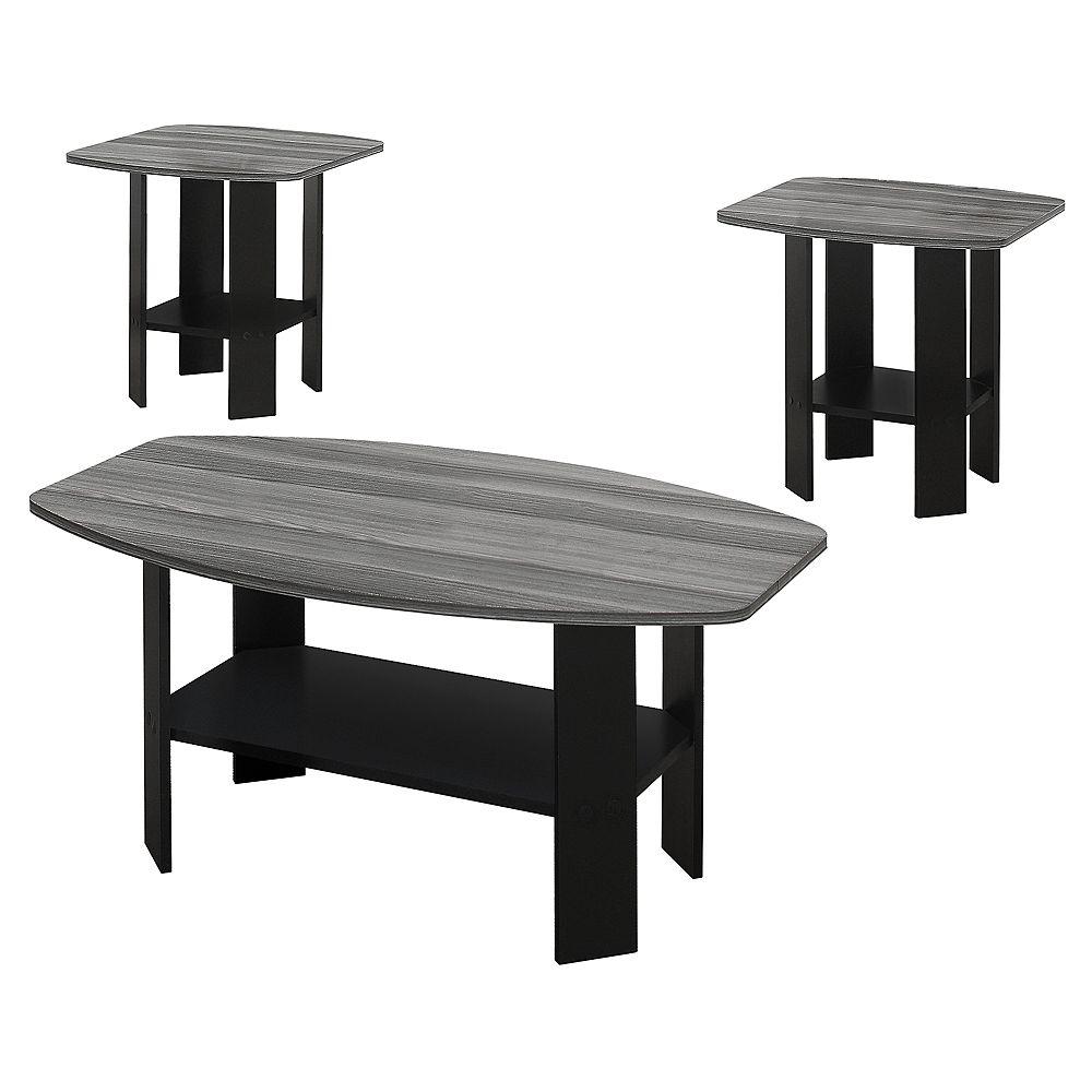Monarch Specialties Table Set - 3Pcs Set / Black / Grey Top