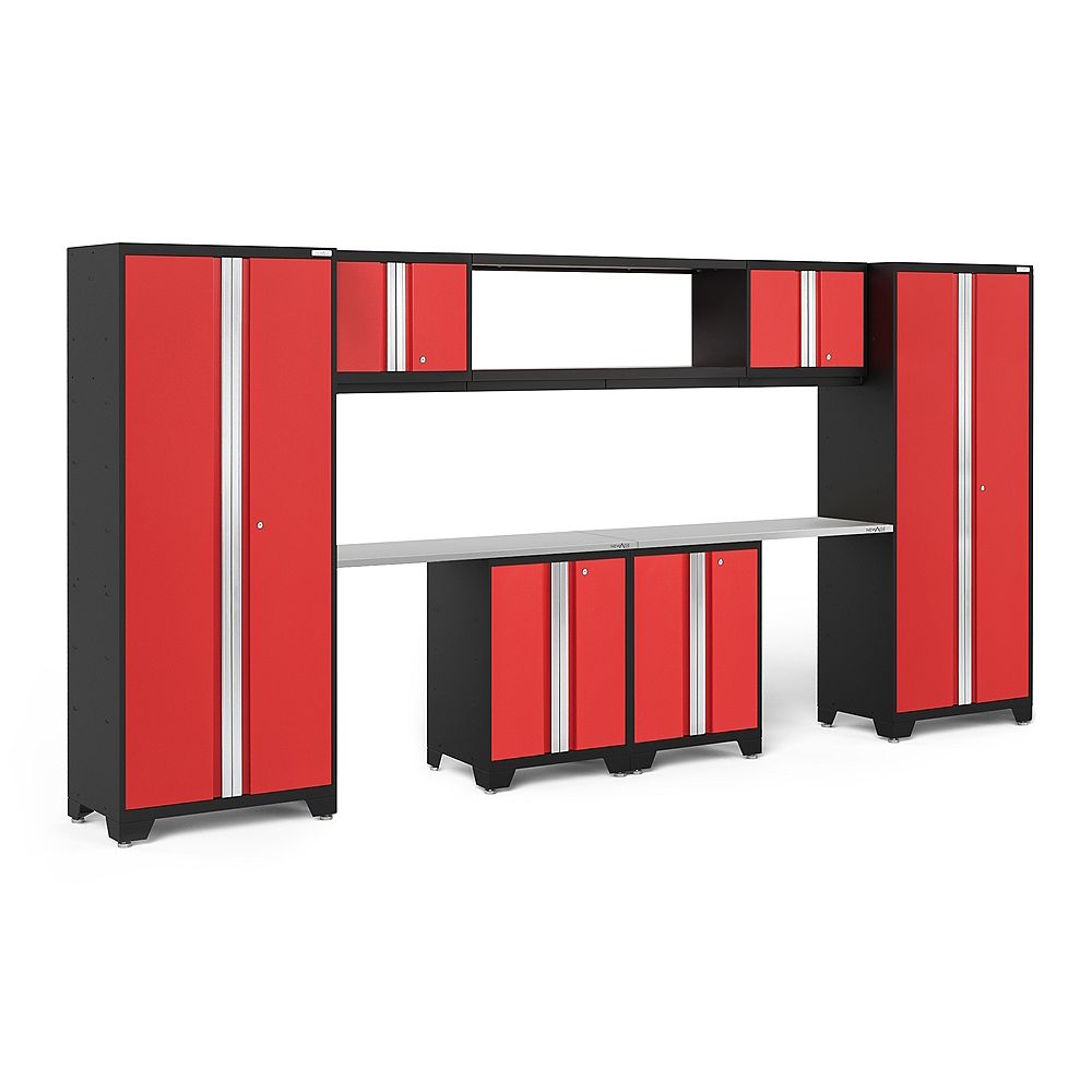 NewAge Products Bold Series Red Garage Cabinet Set with 48-Inch Integrated Shelf (9-Piece)