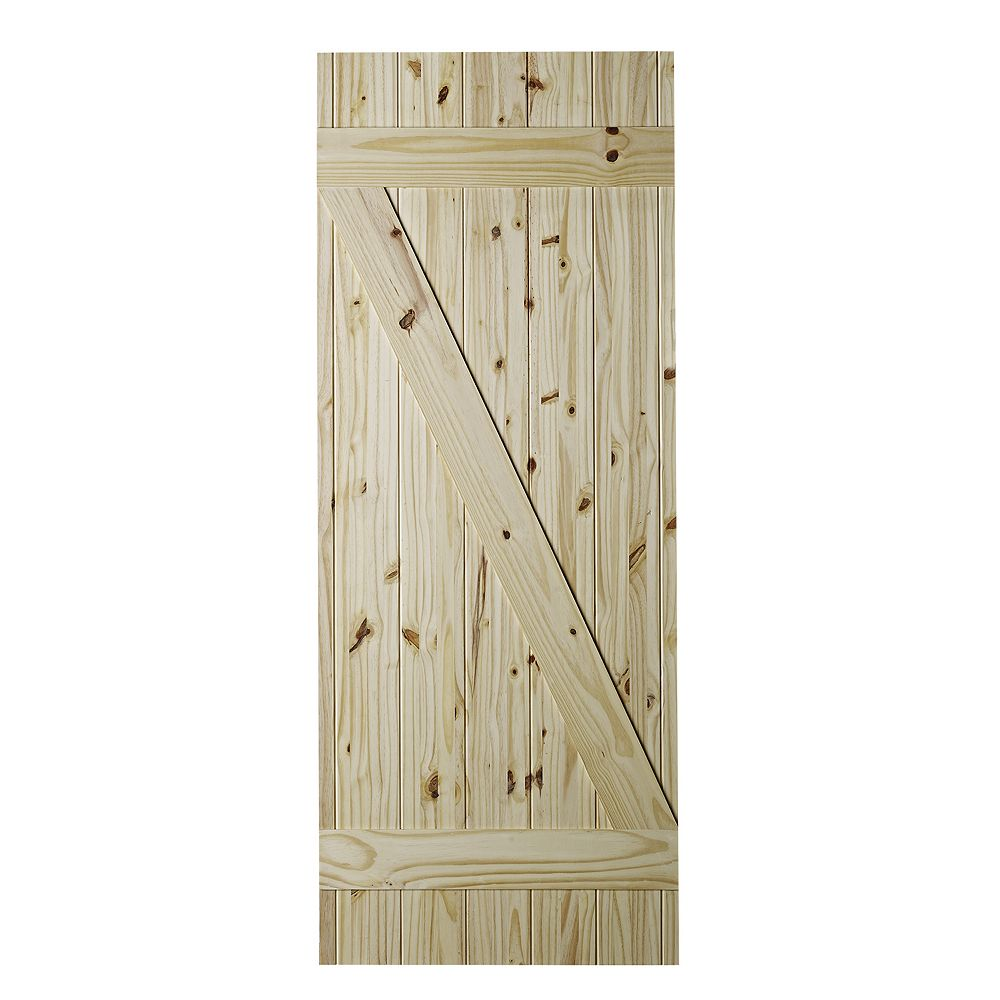 VENDOR BRANDED 37 inch X 84 inch Cellar Z Brace Unfinished Knotty Pine Interior Barn Door Slab