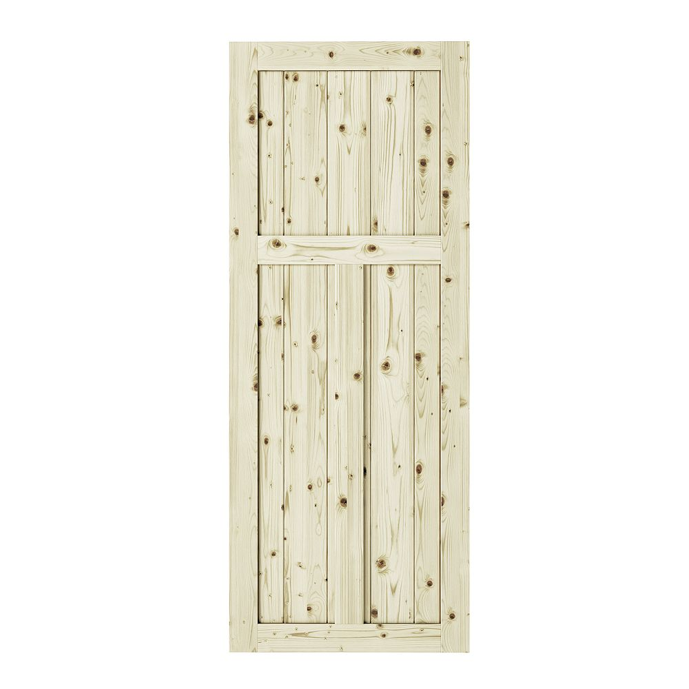 Colonial Elegance 33 inch x 84 inch x1 3/8 inchCraftman 3 Panel Unfinished Knotty Pine Interior Barn Door Slab