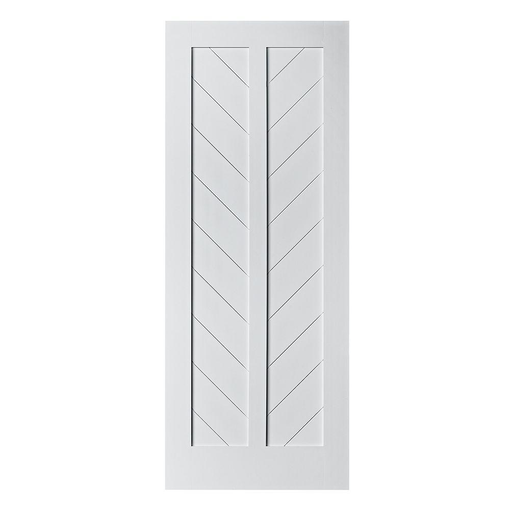 Colonial Elegance 33 inch X 84 inch Chevron MDF Primed White Interior Barn Door Slab