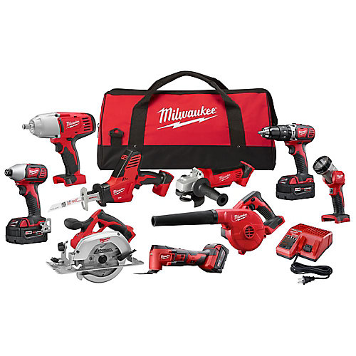 M18 18V Lithium-Ion Cordless Combo Tool Kit (9-Tool) w/ (3) 4.0 Ah Batteries, Charger & Tool Bag