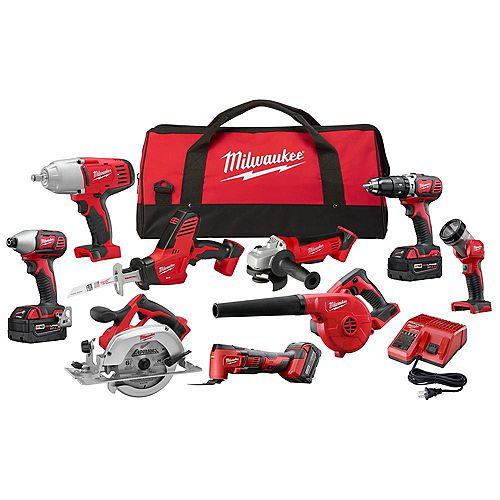 Milwaukee Tool M18 18V Lithium-Ion Cordless Combo Tool Kit (9-Tool) w/ (3) 4.0 Ah Batteries, Charger & Tool Bag