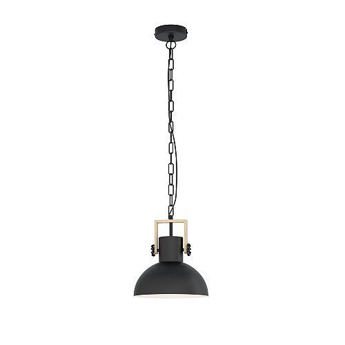 Eglo Lubenham Mini Pendant Light 1L, Wood & Black Finish