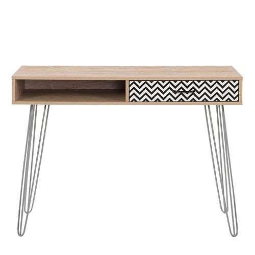 Entryway Table or Desk with Chevron-Pattern Drawer and Cubby, Distressed Light Khaki