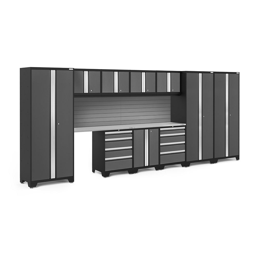 NewAge Products Inc. Bold Series Grey Garage Cabinet Set with Slatwall Kit (12-Piece)