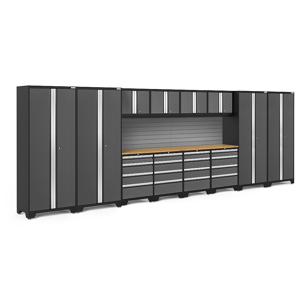 NewAge Products Inc. Bold Series Grey Garage Cabinet Set with Slatwall Kit (14-Piece)