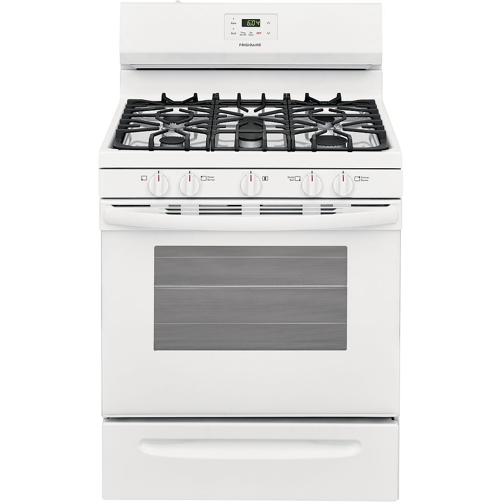 Frigidaire 30-inch 5 cu. ft. Freestanding Gas Range with Quick Boil in White