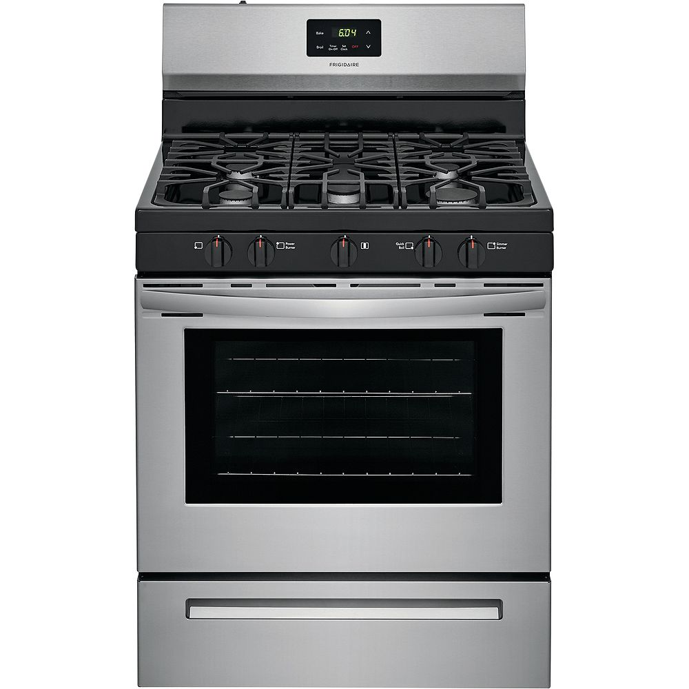 Frigidaire 30-inch 5 cu. ft. Freestanding Gas Range with Quick Boil in Stainless Steel