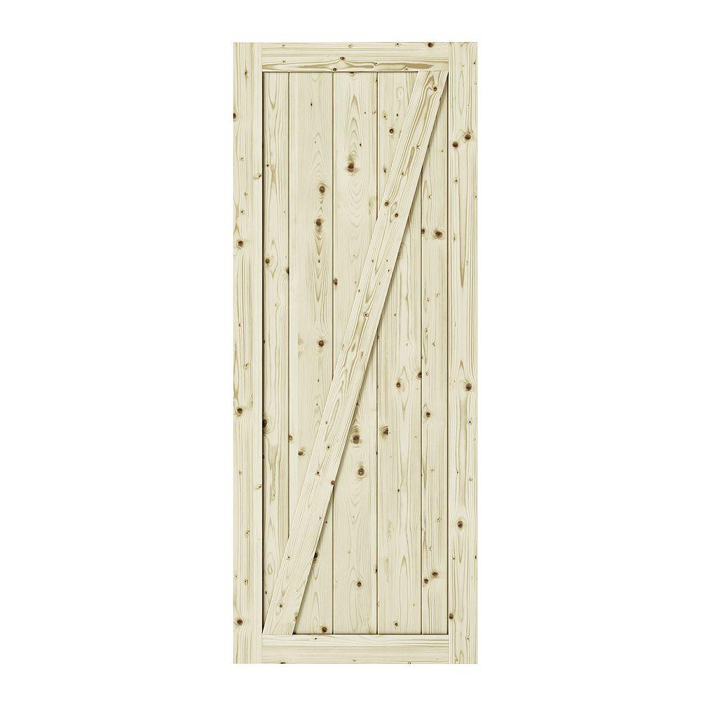 Colonial Elegance 33 inch X 84 inch Chalet Z Brace Unfinished Knotty Pine Interior Barn Door Slab