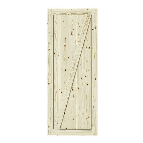 Colonial Elegance 33 inch X 84 inch Chalet Z Brace Unfinished Knotty Pine Interior Barn Door Slab