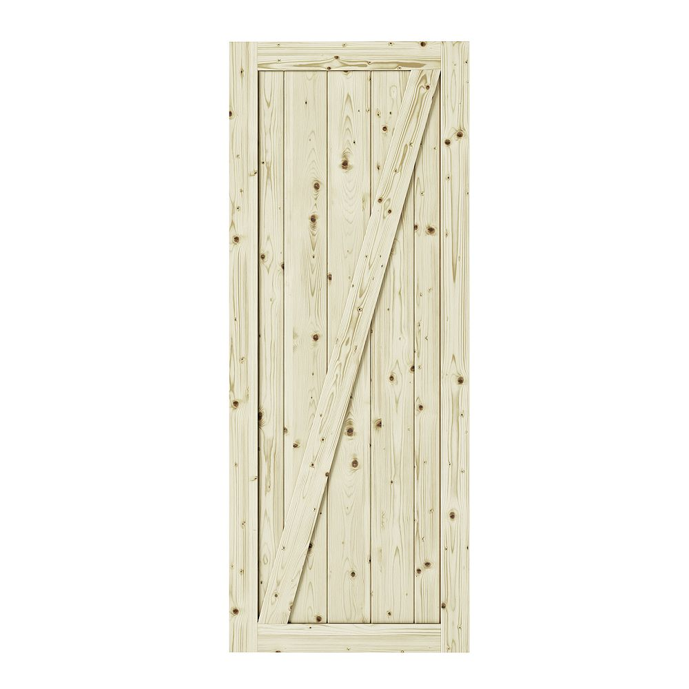 Colonial Elegance 37 inch X 84 inch Chalet Z Brace Unfinished Knotty Pine Interior Barn Door Slab