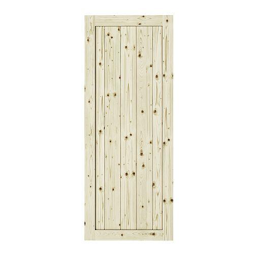 33 po. X 84 po. Porte de grange interior Rustic 1 panneaux en pin noueux non-fini