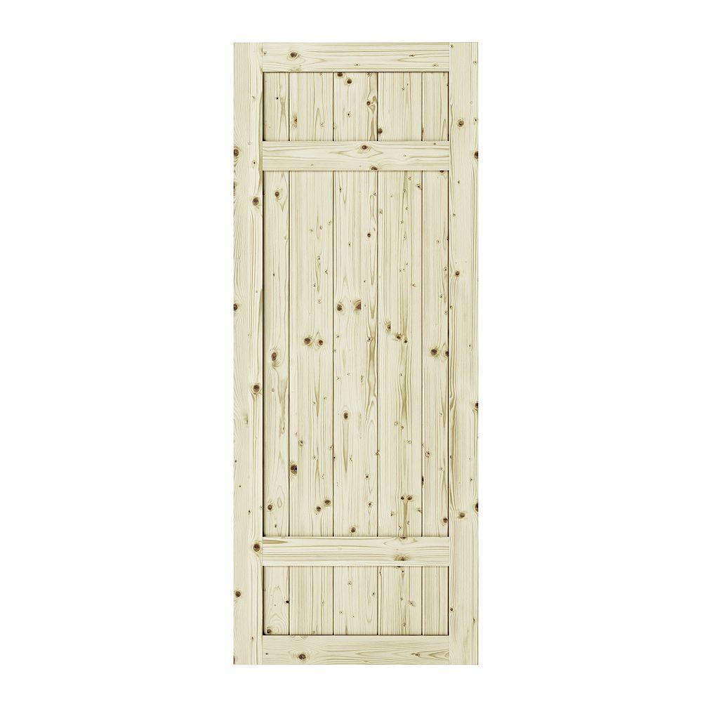 Colonial Elegance 33 inch x 84 inch x1 3/8 inchBarrel 3 Panel Unfinished Knotty Pine Interior Barn Door Slab