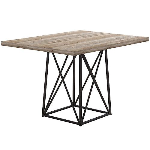 """TABLE A MANGER - 36""""X 48"""" / FAUX BOIS TAUPE / METAL NOIR"""