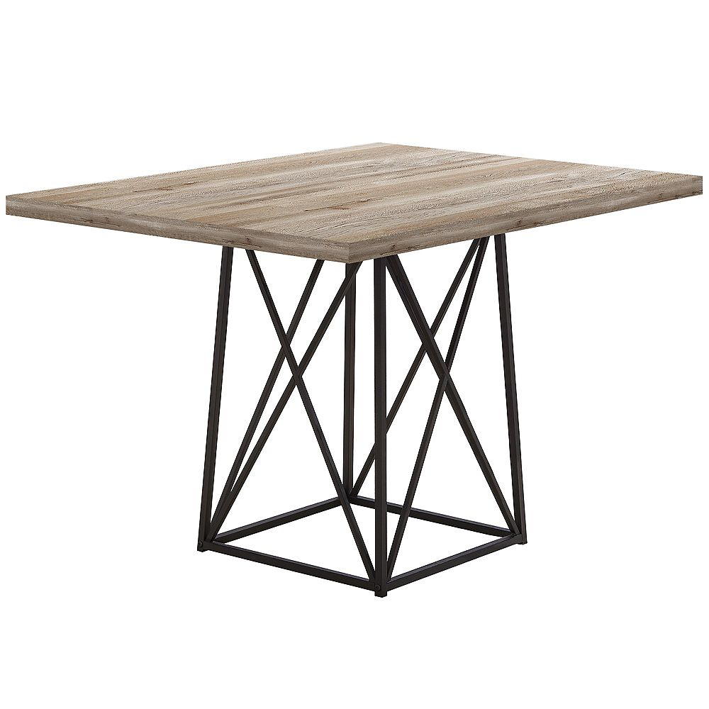 Monarch Specialties Dining Table - 36 Inch X 48 Inch  / Taupe Reclaimed Wood-Look/Black