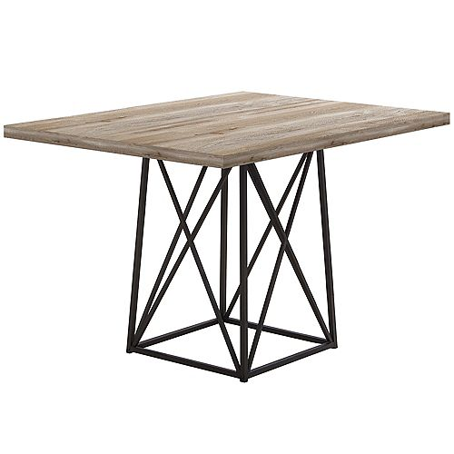 Dining Table - 36 Inch X 48 Inch  / Taupe Reclaimed Wood-Look/Black