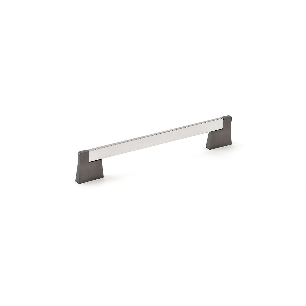 Richelieu Manhattan 7 9/16 in (192 mm) Center-to-Center Chrome and Brushed Black Contemporary Cabinet Pull