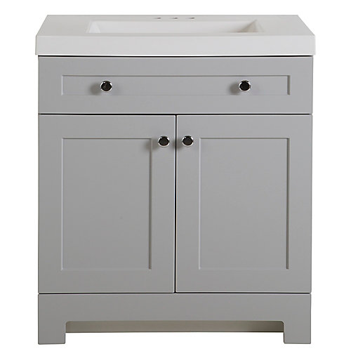 Everdean 30.5-inch W Bathroom Vanity in Pearl Grey with Cultured Marble Top in White and Mirror