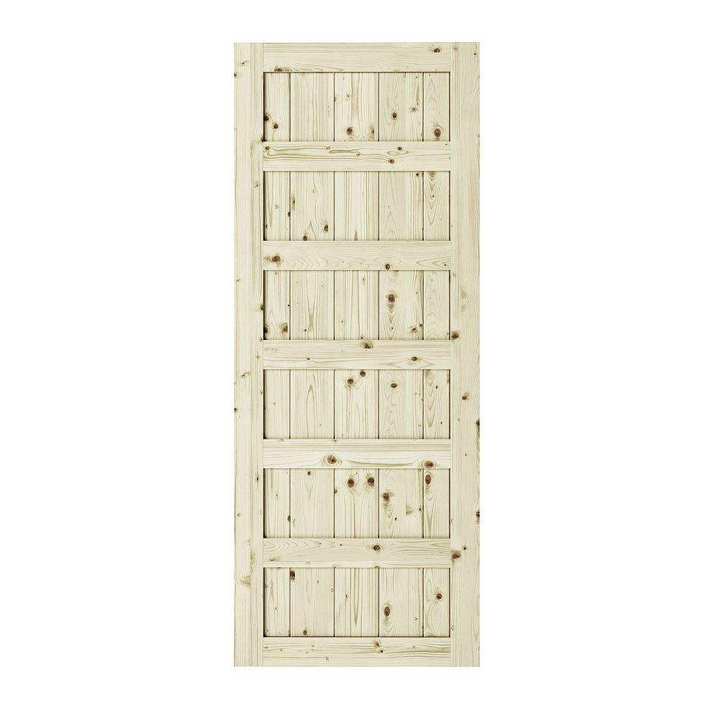 Colonial Elegance 33 inch x 84 inch x1 3/8 inchShaker 6 Panel Unfinished Pine Interior Barn Door Slab