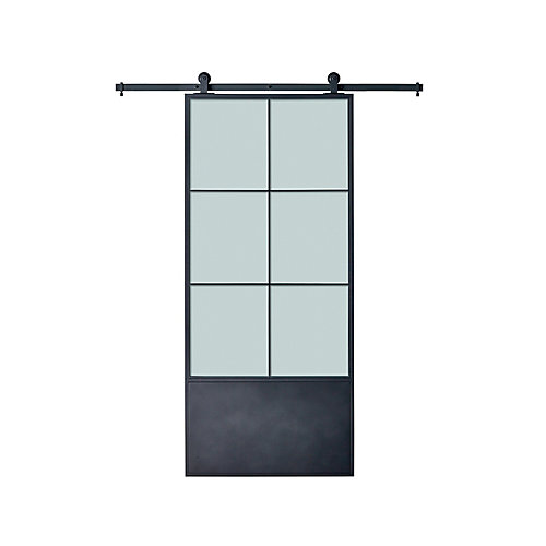 37 inch X84 inch x3 inch  Broadway Kit Black Epoxy Coated Steel Frame wih Frosted Mirror Barn Door