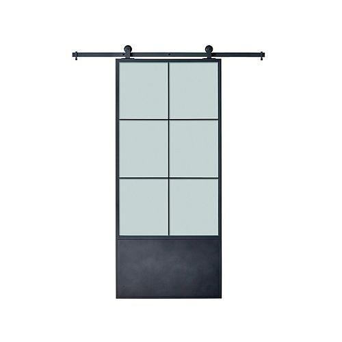 37 po. X 84 po. x 3 po. porte moderne en métal avec 6 panneaux en verre givré