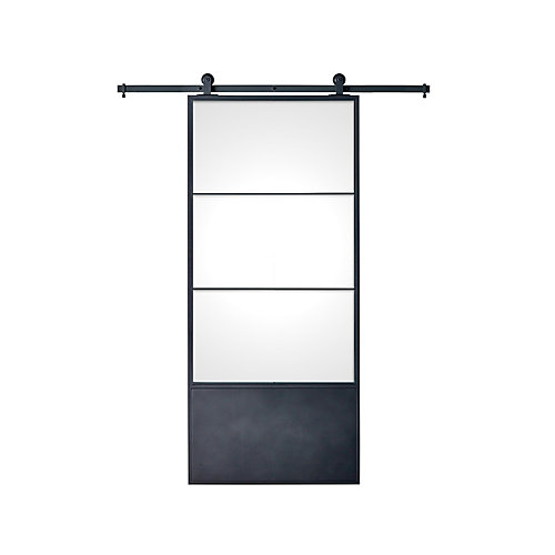 37 inch x 84 inch x 3 inch Concorde Kit Black Epoxy Coated Steel Frame with Clear Glass Barn Door