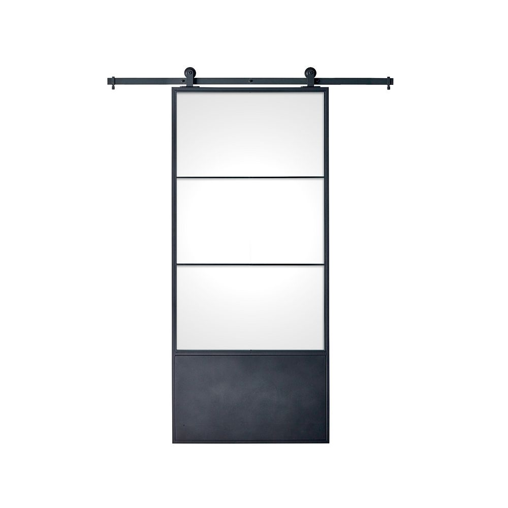 Colonial Elegance 37 inch x 84 inch x 3 inch Concorde Kit Black Epoxy Coated Steel Frame with Clear Glass Barn Door