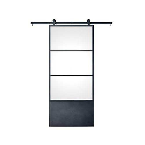 37 po. X 84 po. x 3 po. porte moderne en métal avec 3 panneaux en verre transparent